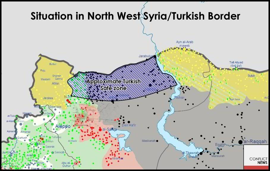 Proposed Turkish occupation zone before the Manbij offensive