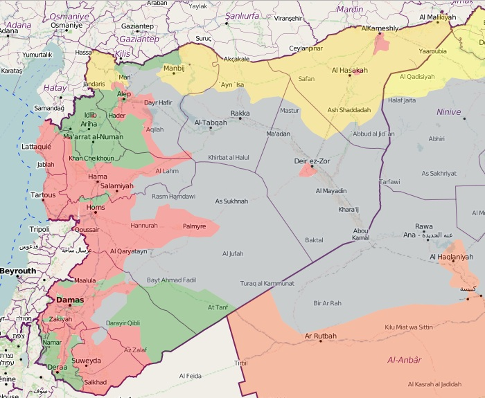 Syria map: red - government, green - rebels, yellow - Kurds, grey - ISIS