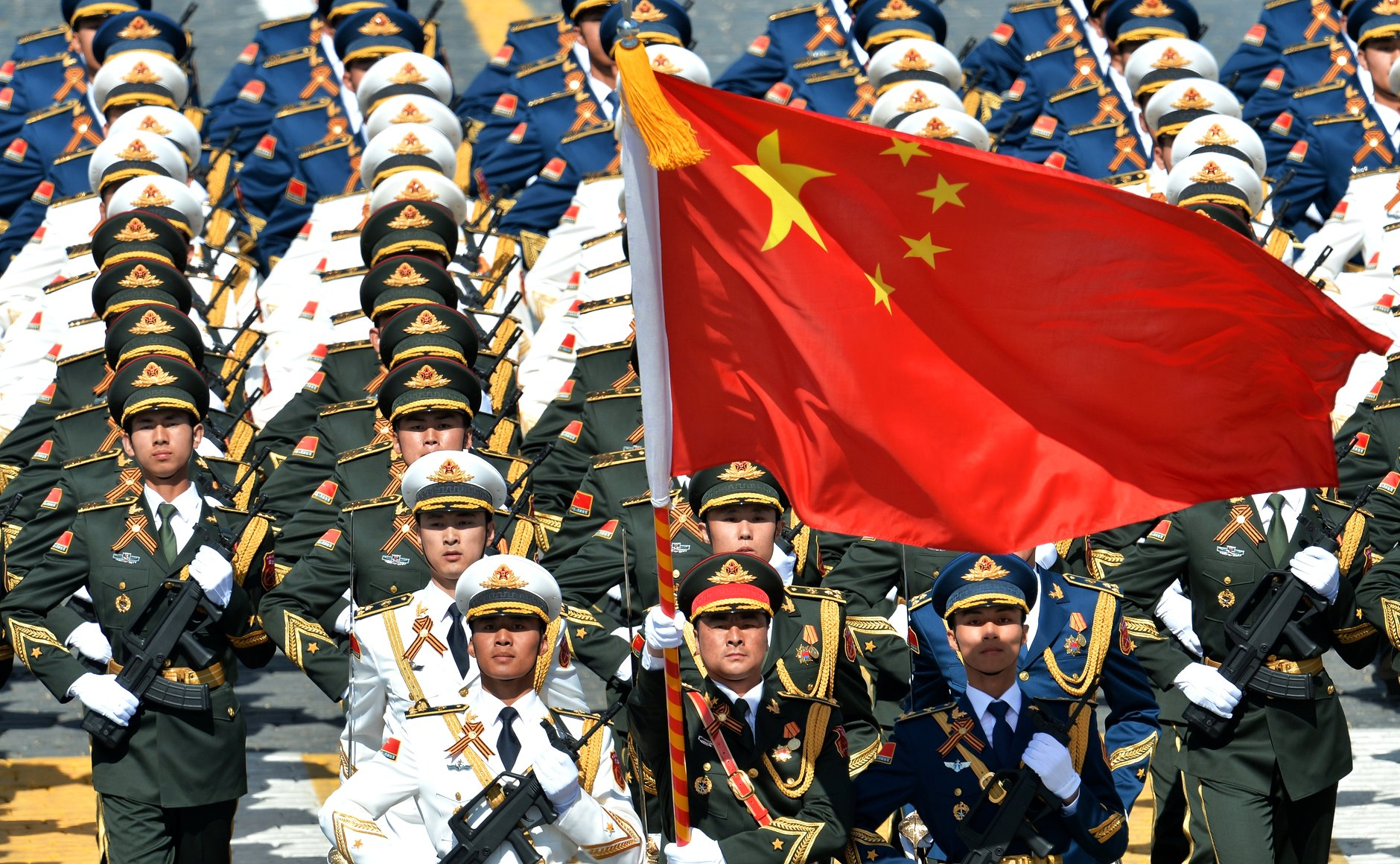 Chinese troops marching in Moscow parade 2015